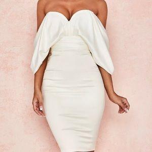 Aisha' Ivory Satin Strapless Dress